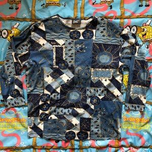 Vintage 80s Blue Patchwork T Shirt